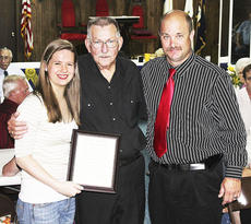 """<div class=""""source""""></div><div class=""""image-desc"""">Alexandra Haggerty, scholarship winner and Harry Readnour, a 40-year member of the Masons were recognized by Fred (Butch) Jernigan, Jr., Master of Grant 85 Masonic Lodge, during the Grant 85's annual dinner. Not pictured is Erica Stith.</div><div class=""""buy-pic""""></div>"""