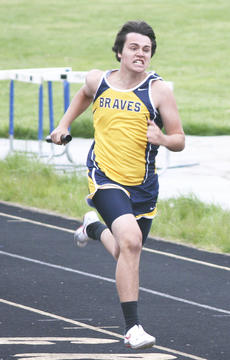 """<div class=""""source"""">Matt Birkholtz</div><div class=""""image-desc"""">Braves senior Christian Moates sprints for the finish during the 4x200-meter relay at the Grant County All-Comers meet, April 17 at Grant County High School. </div><div class=""""buy-pic""""><a href=""""/photo_select/14080"""">Buy this photo</a></div>"""