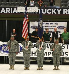 "<div class=""source"">Matt Birkholtz</div><div class=""image-desc"">Presenting of the flags for the National Anthem.</div><div class=""buy-pic""><a href=""/photo_select/13432"">Buy this photo</a></div>"