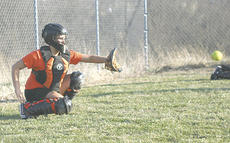 "<div class=""source"">Matt Birkholtz</div><div class=""image-desc"">Lady Demons catcher Tiffany Foley sets a target for the pitch.</div><div class=""buy-pic""><a href=""/photo_select/9733"">Buy this photo</a></div>"