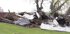 """<div class=""""source"""">Jamie Baker-Nantz</div><div class=""""image-desc"""">Jerry Stith's barn on Eckler Road in Dry Ridge was smashed by a tornado. A horse inside the barn escaped the destruction with cuts and scrapes.</div><div class=""""buy-pic""""></div>"""