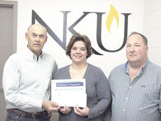 """<div class=""""source"""">Byran Marshall</div><div class=""""image-desc"""">Grant County Conservation District Supervisors Kenwood Soper, left, and Jim Morris, right, presented Melissa Brown of Corinth with a scholarship to NKU-Grant County.</div><div class=""""buy-pic""""><a href=""""/photo_select/10160"""">Buy this photo</a></div>"""