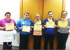 """<div class=""""source""""></div><div class=""""image-desc"""">Senior Jessica Cook, senior Lauren Haney, senior Savannah Johnson, junior Abigayle Hensley and senior Jordan Kinman show off their $1,000 scholarships. Each of the GCHS students that attended were awarded a scholarship for meeting the requirements and working during the day. Students had to write an essay about the importance of the culinary or baking and pastry to the economy, have a teacher write a letter of recommendation, have a 2.5 cumulative GPA and have an interest in attending Sullivan University.   Photo submitted </div><div class=""""buy-pic""""><a href=""""/photo_select/19224"""">Buy this photo</a></div>"""