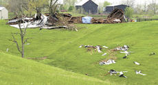 """<div class=""""source"""">Jamie Baker-Nantz</div><div class=""""image-desc"""">Debris from Jerry Stith's barn on Eckler Road was scattered more than 500 feet after a tornado touched down on April 24. Jackson, a horse inside the barn, had to be cut from the metal and timber.</div><div class=""""buy-pic""""></div>"""