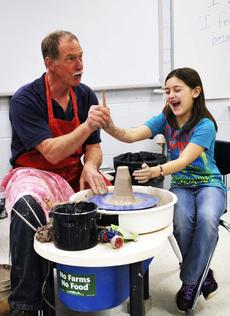 "<div class=""source""></div><div class=""image-desc"">Bauman shows Maddison Shattuck how to make designs in pottery using everyday objects. He also spoke about the several different topics including the health benefits of clay. </div><div class=""buy-pic""><a href=""/photo_select/17744"">Buy this photo</a></div>"