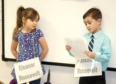 """<div class=""""source""""></div><div class=""""image-desc"""">WES students Patience Massengill and Kameron McHolland dress up as Eleanor and Franklin Roosevelt. Photo by Bryan Marshall </div><div class=""""buy-pic""""><a href=""""/photo_select/20223"""">Buy this photo</a></div>"""