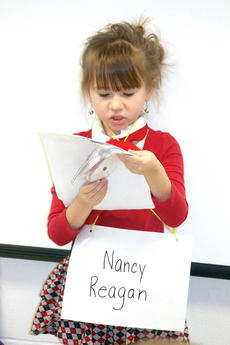 """<div class=""""source""""></div><div class=""""image-desc"""">WES student Layla Newman dreeses up to be Nancy Reagan. Photo by Bryan Marshall </div><div class=""""buy-pic""""><a href=""""/photo_select/20225"""">Buy this photo</a></div>"""