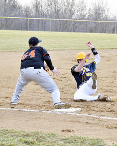 "<div class=""source""></div><div class=""image-desc"">Jason Goe slides in to third base as Caleb Thompson is ready to catch the ball to tag him out.  Grant County Braves won 3 - 1 against the Williamstown Demons.   Photos by Jerry Morris </div><div class=""buy-pic""><a href=""/photo_select/20172"">Buy this photo</a></div>"