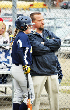 """<div class=""""source""""></div><div class=""""image-desc"""">Taylor Souder and Assistant Coach Tom Biddle discuss plays on the ballfield. </div><div class=""""buy-pic""""><a href=""""/photo_select/20238"""">Buy this photo</a></div>"""