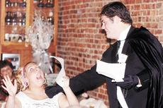 """<div class=""""source""""></div><div class=""""image-desc"""">John Siedenberg reenacts a scene from a fictitious movie with Nichole Sanders during Williamstown High School's murder/mystery at Michael's on Main.</div><div class=""""buy-pic""""><a href=""""/photo_select/1735"""">Buy this photo</a></div>"""