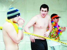 """<div class=""""source"""">Bryan Marshall, staff writer</div><div class=""""image-desc"""">Devin Hurley, a 2008 graduate of Williamstown High School and Matt Dade, a junior, went shirtless for the event.</div><div class=""""buy-pic""""><a href=""""/photo_select/8200"""">Buy this photo</a></div>"""