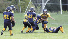 """<div class=""""source"""">Jamie Baker-Nantz</div><div class=""""image-desc"""">The Grant County Youth Football League has six teams, which play in the Greater North Central Kentucky Youth Football League. Above, the teams scrimmaged each other earlier this year during the annual Blue/Gold game. One of Grant County's teams, the Blue Mighty Pros, have been suspended for the remainder of the season. Their coach was suspended for the season after a complaint was filed against him for having players urinate on an opponent's jersey during a practice. Photo by Jamie Baker-Nantz</div><div class=""""buy-pic""""><a href=""""/photo_select/15936"""">Buy this photo</a></div>"""