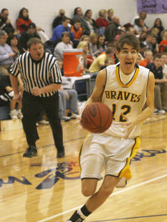 Sophomore forward Aaron Hicks drives the lane during the junior varisty game against Williamstown High School Jan. 3.