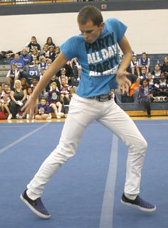 Alec Frank of the Grant County High School dance crew shows off his moves.