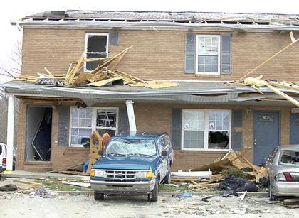 Harvester's Subdivision in Crittenden was battered by a Category F3 tornado on March 2 at 4:30 p.m. Residents took cover wherever they could find shelter. The storm moved quickly through Grant County into southern Kenton County where it caused extensive damage and four deaths