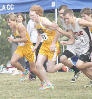 Braves senior runners Danny Hess and Tyler Edmondson work their way to the front of the pack at the beginning of the Grant County Invitational Sept. 10 at Sherman Elementary.