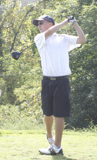 Braves senior golfer Brian Perry tees off hole number one at the Grant County Invitational Sept. 10 at Eagle Creek Country Club.