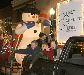 Christ Community Church, above, won the 'Best Eyes of a Child' category for their float in the parade at Santa's Wonderland.