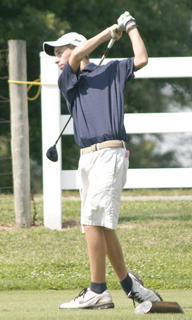 Braves freshman Cody Kellam tees off hole number two during a match with Newport Central Catholic Aug. 17.