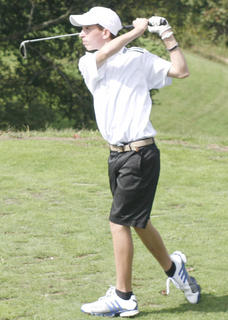 Braves freshman Cody Kellam tees off hole number five. Kellam shot a 74 in the Grant County Invitational Sept. 10.