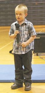 Collin Magee sang &quot;Let It Go&quot; for the crowd at the MCE talent show.