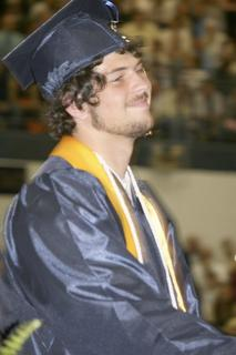 Cory Kearns leaves the stage after receiving his diploma.