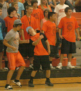 "Williamstown sophomore Drew Harris dances the ""Bernie"" during the Williamstown/Grant County volleyball game."