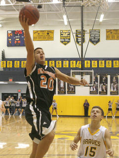 Williamstown senior forward Eddi Feldman goes for a layup against the Braves. Feldman had 10 points in the game.