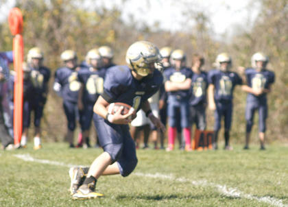 Hunter Ruber returns a kickoff against Union Oct. 15.