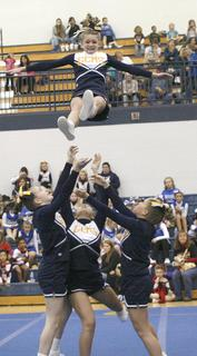 Grant County Middle School performed in the large mixed section of the middle school cheer division.