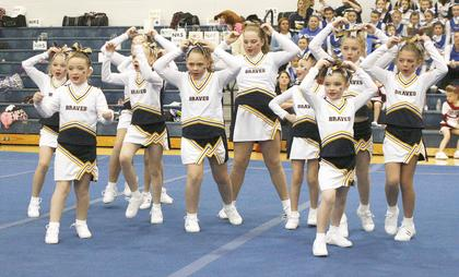 The Grant County Pro Gold show off their cheerleading skills.