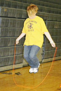 Tammy Turner, GCMS seventh grade math teacher jumps rope for the teacher's team.