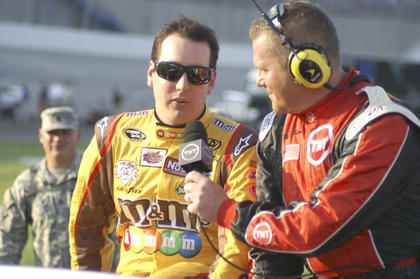 Kyle Busch is interviewed by TNT before the race July 9.