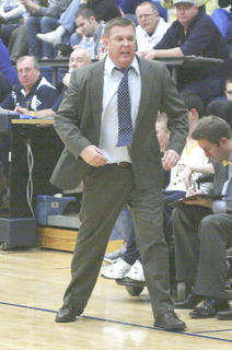 Coach Jim Hicks turns around in disgust to a call against Grant County. 