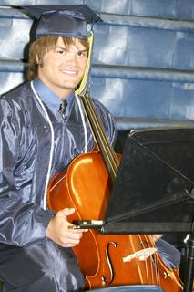 Joshua Mason plays his cello for the last time during a GCHS concert.