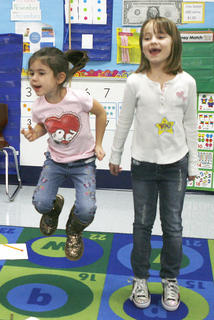 Courtney Ruark and Haley Strong, jump for 100 seconds at Crittenden-Mt. Zion Elementary.