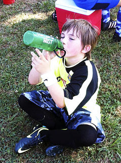 Kordell Conley gets a drink of water and takes a rest. Photo submitted by Jenni Wesley.