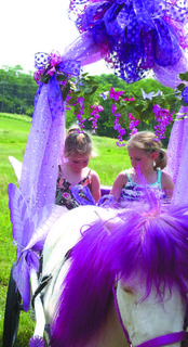 Mckenzie, right, and Kendall Soper, left ,enjoy a carriage ride at the GC Public Library summer reading kickoff.