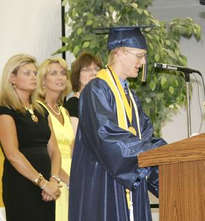 Salutatorian Michael Schultz gives the welcoming address to his classmates, teachers, staff and guests.