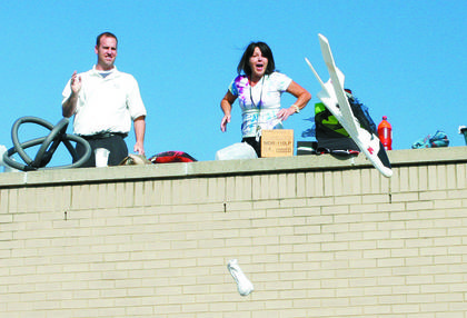 Brian Zeff and Deborah Jones were flying high during the Mason-Corinth Elementary egg drop.