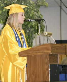 Valedictorian Haley Nicole Mullins delivers a challenge to the GCHS Class of 2011.
