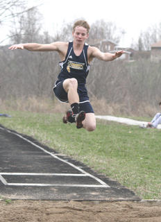 Davis in mid-air during his first jump.