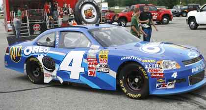 No. 4 car sits in the lot of the Dry Ridge Wal-Mart as a showcase before the races July 7.