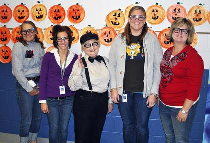 DRE kindergarten teachers, Bonnie Ratcliff, Sheena Walters, Aundria Sustarich, Angela Lawrence and Elisha Stecht, all dressed up as nerds.