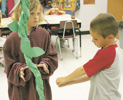 "Grace Wilcoxen and Nathan Caldwell perform in Mason-Corinth Elementary's version of ""Jack and the Beanstalk."""