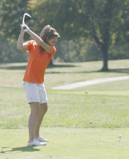 Williamstown golfer Sarah Hicks tees off hole number eight at the Grant County Classic Sept. 17.