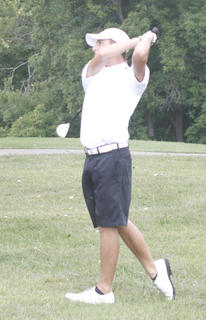 Tim Livingood drives a ball in the Grant County Invitational Sept. 10 at Eagle Creek Country Club. Livingood shot a 70.