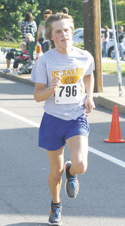 Tyler Edmondson was the first male to cross the finish line at the Derby Dash 5K.