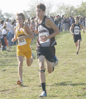 Tyler Edmondson runs for the finish line.