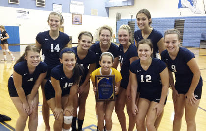 The Grant County High School Lady Braves volleyball team were runners up in the Bracken County Tournament on Aug. 18. Pictured are Kelsey Kinman, Emily Livingood, Kaylee ONeill, Joetta Macall Mason-Knight, Taylor Cummins, Carissa Walton, Mariah Smith, Raven Wilson, Meagan Kinard and Casey Hinton. The Lady Braves are coached by Amanda Matricia-Grigsby. Photo submitted.